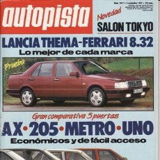 Coches: REVISTA AUTOPISTA Nº 1477 AÑO 1987. PRU: LANCIA THEMA 8.32. COMP: AUSTIN METRO MAYFAIR,CITROEN AX 14. Lote 109465059