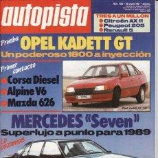Coches: REVISTA AUTOPISTA Nº 1475 AÑO 1987. PRUEBA: OPEL KADETT GT. COMP: CITROEN AX 11 TRE, PEUGEOT 205 XL. Lote 109464951