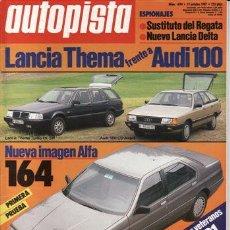 Auto: REVISTA AUTOPISTA Nº 1474 AÑO 1987. PRUEBA: ALFA ROMEO 164 3.0 V6. COMP: LANCIA THEMA TURBO I.E. SW.. Lote 235281960