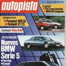 Coches - REVISTA AUTOPISTA Nº 1533 AÑO 1988. PRU: FIAT CROMA DUEMILA. BMW M3 EVOLUCIONE.COMP: PEUGEOT 405 GL - 25286824