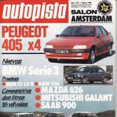 Coches: REVISTA AUTOPISTA Nº 1543 AÑO 1989. PRU: PEUGEOT 405 4X4. ALFA 75 1.8 IE. BMW 316 I. COMP: MAZDA 626. Lote 107876507