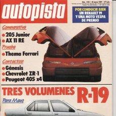 Coches: REVISTA AUTOPISTA Nº 1550 AÑO 1989. PRU CHEVROLET CORVETTE ZR 1.PEUGEOT 405 X4 LANCIA THEMA 8.32.. Lote 109464874