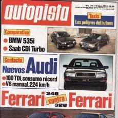 Coches: REVISTA AUTOPISTA Nº 1596 AÑO 1990. PRUEBA: SUBARU LEGACY 2.2 CX. COMP: BMW 535 I Y SABB CDI TURBO.. Lote 213604986