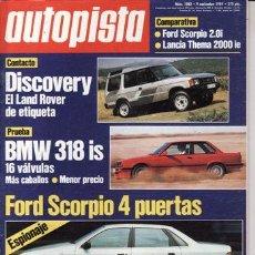 Coches: REVISTA AUTOPISTA Nº 1582 AÑO 1989. PRU: BMW 318 I. HONDA CIVIC 1.6 I. COMP: FORD SCORPIO 2.01 GHIA. Lote 25573365