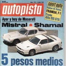 Coches: REVISTA AUTOPISTA Nº 1721 AÑO 1992. PRU: DAIHATSU ROCKY TD EL II. COMP: FIAT TIPO 1.8 SX IE, GOLF GL. Lote 121458219