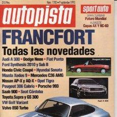Coches: REVISTA AUTOPISTA Nº 1782 AÑO 1993. PRU: SUBARU IMPREZA 1.8 4WD. COMP: AUDI 100 2.6E Y VOLVO 850 GLE. Lote 25942865