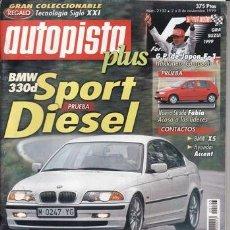 Carros: REVISTA AUTOPISTA Nº 2103 AÑO 1999. PRU: BMW 330 D. SKODA FABIA 1.4 MPI CONFORF. NISSAN PRIMERA 2.0. Lote 26081182