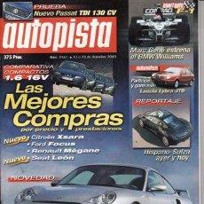 Coches: REVISTA AUTOPISTA Nº 2161 AÑO 2000. PRU: VW PASSAT TDI 130 CV. COMP: BMW 520I Y PEUGEOT 607 2.2.. Lote 26145707