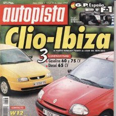 Coches: REVISTA AUTOPISTA Nº 2026 AÑO 1998. PRU: VOLVO S40 1.8I. COMP: RENAULT CLIO 1.4 Y SEAT IBIZA 1.6.. Lote 142974672