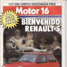 Coches: REVISTA MOTOR 16 Nº 65. AÑO 1985. COMP: FIAT UNO 45 Y VW POLO C OXFORD. PRU: BMW R80 GS PARÍS DAKAR.. Lote 109389020
