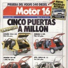 Coches: REVISTA MOTOR 16 Nº 104 AÑO 1985. PRU: VOLVO 340 GL DIESEL. COMP: OPEL CORSA 1.2 GL, RENAULT 5 GTL,. Lote 109464616