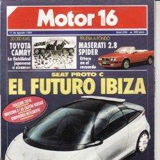Coches: REVISTA MOTOR 16 Nº 356 AÑO 1990. PRUEBA: MASERATI 2.8 SPIDER. TOYOTA CAMY.. Lote 27242401