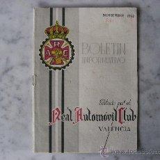Coches: REAL AUTOMOVIL CLUB DE VALENCIA,BOLETIN INFORMATIVO AÑO 1962. Lote 22439010