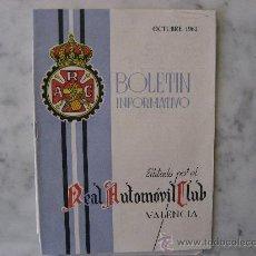 Coches: BOLETIN INFORMATIVO REAL AUTOMOVIL CLUB DE VALENCIA,OCTUBRE 1962.BUENA CONSERVACION.. Lote 22525517
