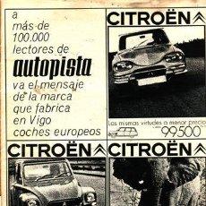 Coches: REVISTA AUTOPISTA AÑO 1969. PUBLICIDAD CITROEN DYANE 6. . Lote 23383296