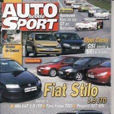 Coches: REVISTA AUTO HEBDO SPORT Nº 845 AÑO 2001. COMP: FIAT STILO JTD 155, ALFA ROMEO 147 JTD, FOCUS TDCI. Lote 23506356