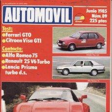 Coches: REVISTA AUTOMOVIL FÓRMULA Nº 89 AÑO 1985. TEST: FERRARI GTO. CITROEN VISA GTI. CONTACTO: ALFA 75.. Lote 24548321