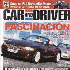 Voitures: REVISTA CAR AND DRIVER Nº 86 AÑO 2002. COMP: BMW Z4 Y PORSCHE BOXSTER. RENAULT MÉGANE 1.9 DCI LUXE. Lote 24819128
