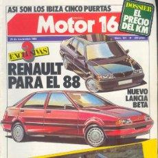 Carros: MOTOR 16 Nº 161 NOV 1986:LANCIA BETA, IBIZA DESCAPOTABLE, HONDA CD 450S, MOTOR16. Lote 26604949
