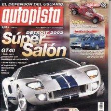 Coches: REVISTA AUTOPISTA Nº 2217 AÑO 2002. PRUEBA: VW POLO 1.2 Y TDI 1.4. VW PASSAT W8 4MOTION.. Lote 26886681