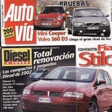 Coches: REVISTA AUTO VÍA Nº 138 AÑO 2001. PRUEBA: OPEL CORSA 1.2 EASYTRONIC. VOLVO S60 D5. MINI COOPER 1.6. . Lote 28220679