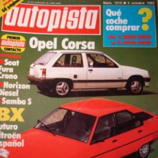 Carros: REVISTA AUTOPISTA - NUM. 1213 OPEL CORSA - CITROEN BX - SEAT 127 FURA CRONO - TALBOT HORIZON. Lote 29720158