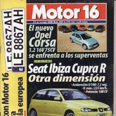 Coches: REVISTA MOTOR 16 Nº 889 AÑO 2000. COMPARATIVA: OPEL CORSA 1.2 16V, FIAT PUNTO 1.2, PEUGEOT 206 1.4,. Lote 171459257