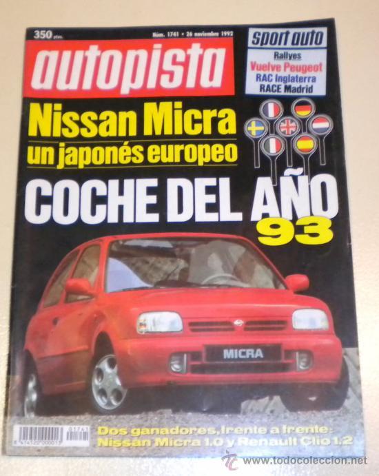 AUTOPISTA 1741 DE NOVIEMBRE 1992 (Coches y Motocicletas Antiguas y Clásicas - Revistas de Coches)