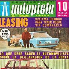 Auto: AUTOPISTA 485 25 MAYO 1968 BMC PEUGEOT 504. Lote 30350947
