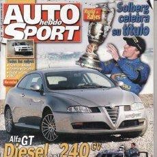 Coches: REVISTA AUTO HEBDO SPORT Nº 949 AÑO 2003. PRU: SKODA FABIA RS TDI. BMW 530D. FIAT PANDA 1.2 DYNAMIC.. Lote 180839931