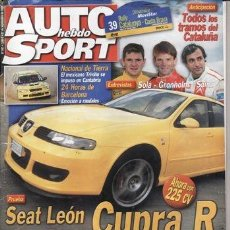 Coches: REVISTA AUTO HEBDO SPORT Nº 941 AÑO 2003. PRUEBA: SEAT LEÓN CUPRA R 225. VW PASSAT V6 TDI 4MOTION.. Lote 30885256