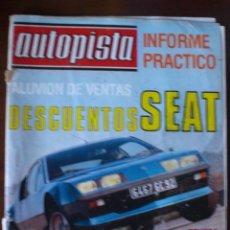 Coches: REVISTA AUTOPISTA. 1978. PRUEBA ALPINE A-310 V6. CITROEN GS. . Lote 30924189