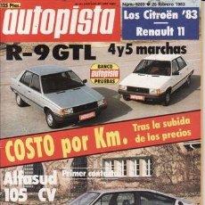 Autos - REVISTA AUTOPISTA Nº 1233 AÑO 1983. PRU: RENAULT 9 GTL 4 MARCHAS. RENAULT 9 GTL. ALFA SPRINT QUADRIF - 34958547