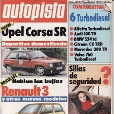 Auto: REVISTA AUTOPISTA Nº 1270 AÑO 1983. PRUEBA: OPEL CORSA SR. COMP: ALFETTA TD, AUDI 100 TD, BMW 524 TD. Lote 209618075