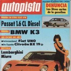 Coches: REVISTA AUTOPISTA Nº 1276 AÑO 1983. PRUEBA: VOLKSWAGEN PASSAT 1.6 CL DIESEL. BMW K3.. Lote 34959443