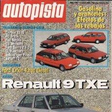 Coches: REVISTA AUTOPISTA Nº 1390 AÑO 1986. PRU: RENAULT TXE. FORD ORION TD. COMP: CITROËN BX 19 RD BREAK. Lote 142974138