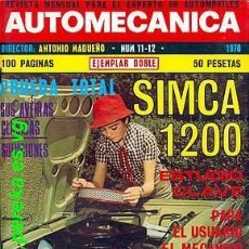Coches: AUTOMECANICA Nº 11 / 12 MAYO 1970. Lote 46197487