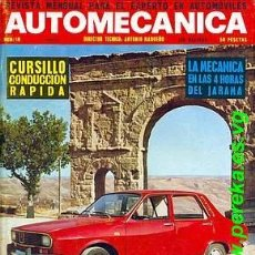 Coches: AUTOMECANICA Nº 16 NOVIEMBRE 1970 RENAULT 12. Lote 36408278