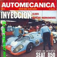 Coches: AUTOMECANICA Nº 19 MARZO 1971 SEAT 850. Lote 35050344