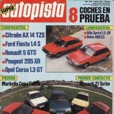 Coches: REVISTA AUTOPISTA Nº 1458 AÑO 1987. PRU: RENAULT 21T. COMP: CITROËN AX 14 TZS, FORD SIERRA 1.4S. Lote 109497320