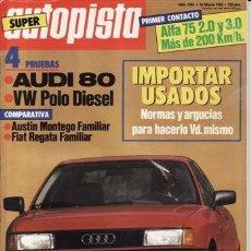 Auto: REVISTA AUTOPISTA Nº 1441 AÑO 1987. PRUEBA: AUDI 80 1.8E. VW POLO DIESEL CL.. Lote 35201078