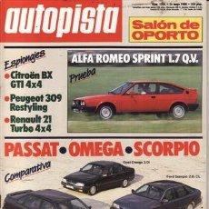 Coches: REVISTA AUTOPISTA Nº 1506 AÑO 1988. PRU: ALFA SPRINT 1.7 Q.V.OPEL OMEGA 2.0I. COMP: VW PASSAT GL 1.8. Lote 49984958