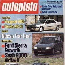 Coches: REVISTA AUTOPISTA Nº 1579 AÑO 1989. PRU: FORD FIESTA XR2I. FIAT UNO 60S. COMP: FORD SIERRA COSWORTH. Lote 107876356