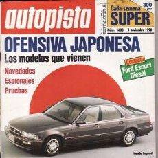Coches: REVISTA AUTOPISTA Nº 1633 AÑO 1990. PRU: JAGUAR XJ6 3.2. NISSAN PRIMERA 1.6. TOYOTA LAND CRUISER T. Lote 213605843