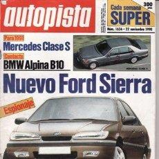 Coches: REVISTA AUTOPISTA Nº 1636 AÑO 1990. PRUEBA: ROVER 114 GTI 16V. BMW ALPINA B10 BITURBO. . Lote 45024328