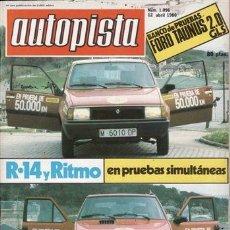 Autos - REVISTA AUTOPISTA Nº 1096 AÑO 1980. PRU: FORD TAUNUS 2.0 GLS.COMP: RENAULT 14 GTS Y SEAT RITMO 75 CL - 35584962