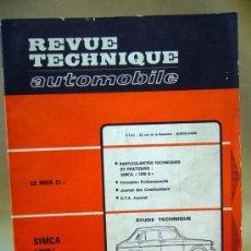 Coches: REVISTA, REVUE TECHNIQUE AUTOMOBILE, 1966, SIMCA 1100, Nº 262, FRANCIA. Lote 36026637