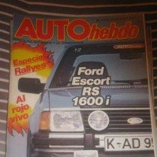 Coches: REVISTA AUTO HEBDO Nº 4 FORD ESCORT RS AUDI COUPE COCHES CLASICOS AUTOMOVIL FORMULA 1 RALLYE. Lote 36244400