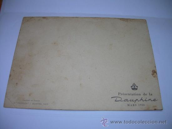Coches: ANTIGUA POSTAL FOTOGRAFICA.......PRESENTACION DEL DAUPHINE...1956 - Foto 3 - 36273243
