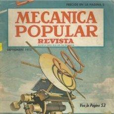 Coches: REVISTA MECANICA POPULAR-SEPTIEMBRE 1952. Lote 36439085